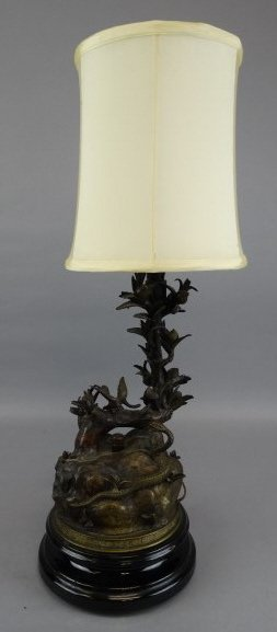 Antique Bronze Japanese Signed Lamp