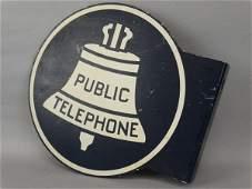 Vintage Public Telephone Flange Sign