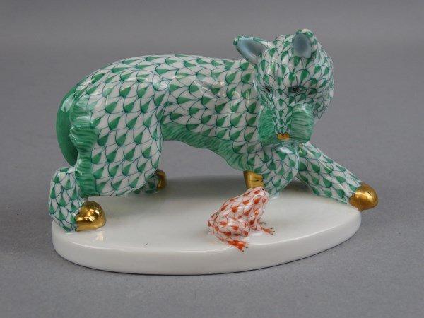 Herend Porcelain Dog & Frog w/ Green Fishnet