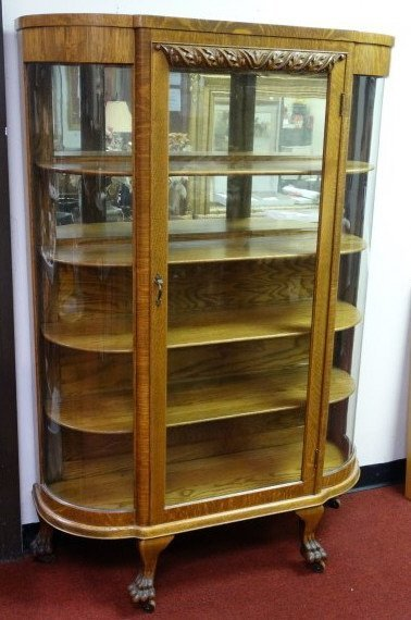 Antique Oak Curio Cabinet with Curved Glass