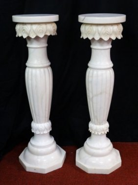 Pair Of Heavy Marble Pedestals