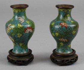 Pair Of Antique Cloisonne Vases W/ Stands