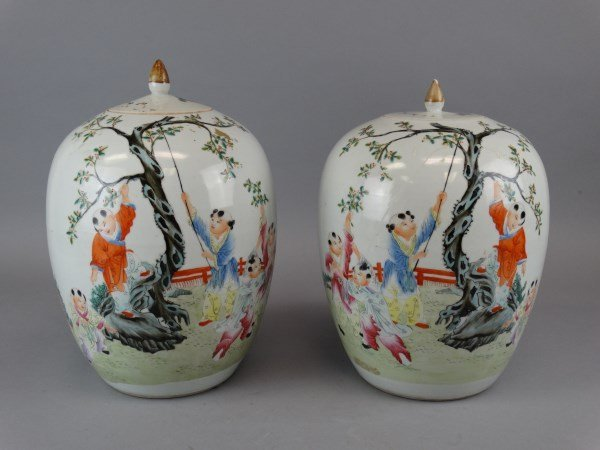 Matched Pair of Chinese Melon Jars