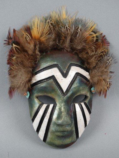 Raku Art Pottery Signed Mask