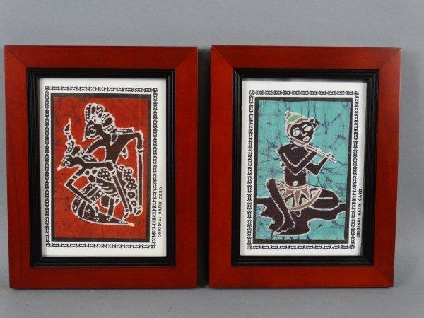 Lot of 2 Framed Batik Cards