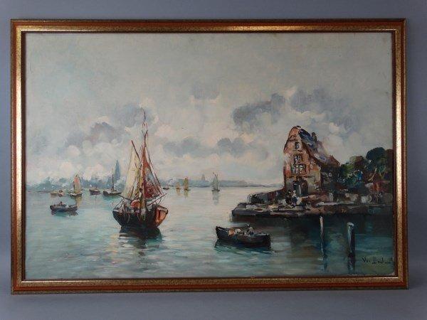VAN DACL - Oil on Canvas, Waterway