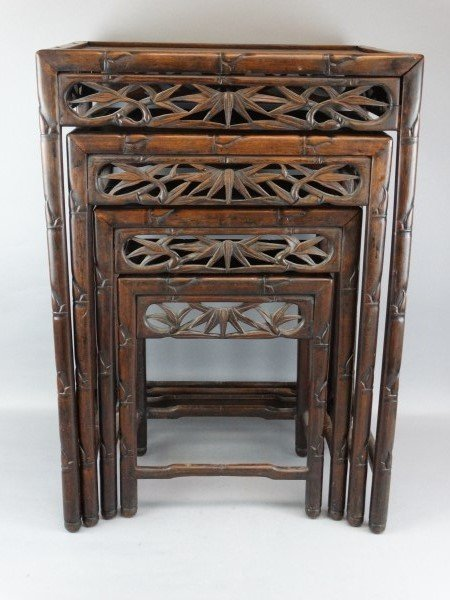 Set of 4 Beautiful Carved Wood Nesting Tables