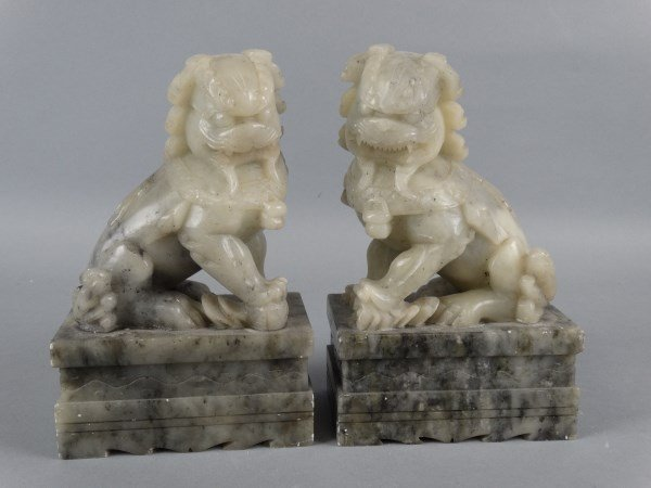 Pair of Carved Hardstone Fu Lions