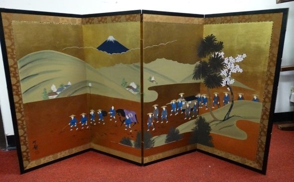 Japanese 4 Panel Screen - Procession