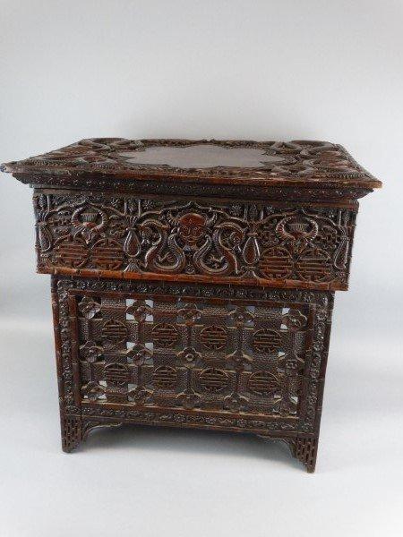Antique Chinese Carved Hardwood Scribes Desk