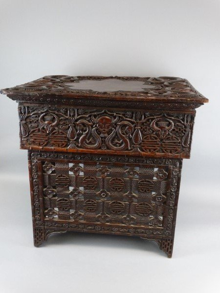 Antique Chinese Carved Hardwood Scribes Desk