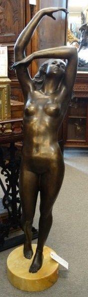 S. MONACO - Bronze Sculpture of Woman on Marble