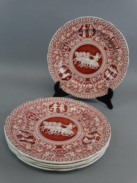 & Lot of 5 Copeland Spode Greek Red Dinner Plates