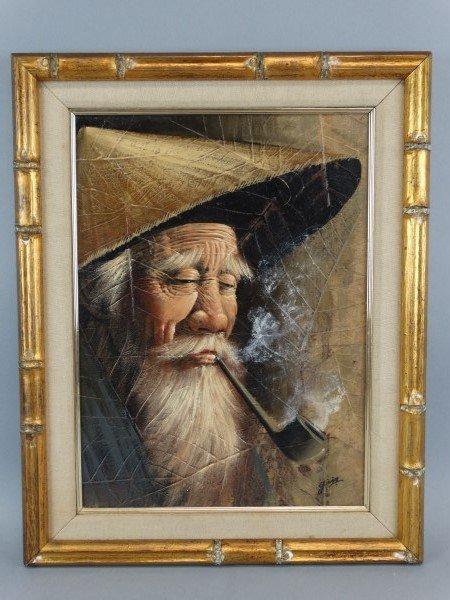 Asian man lighting cigarette oil painting