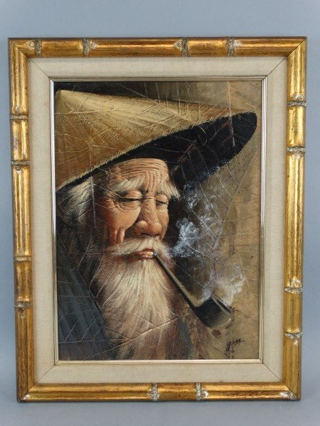 chinese oil painting old man smoking pipe. Black Bedroom Furniture Sets. Home Design Ideas