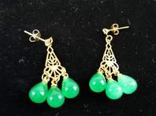 Chinese Green Jade Earrings