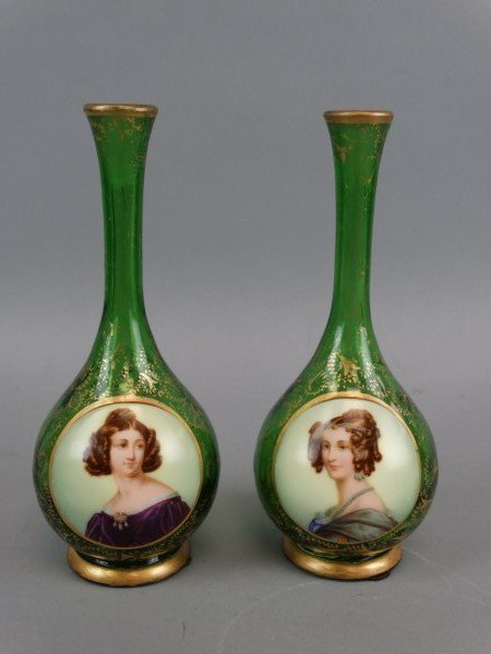 Pair of Moser Bud Vases w/ Hand Painted Cameos