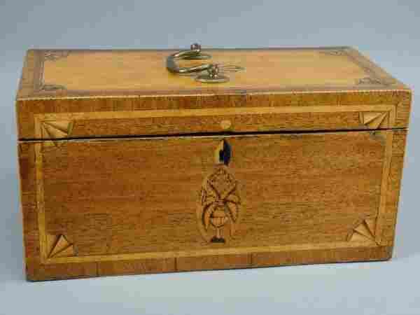 George III Satinwood Marquetry Inlaid Tea Caddy