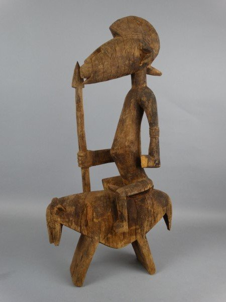 Large African Carved Figure on Horse