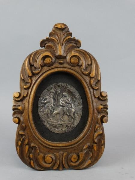 Beautiful Etched Silver Plaque Mounted in Frame