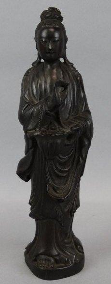 Zitan Carved Wood Guanyin