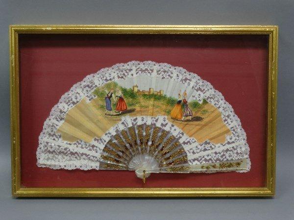 Ornate Handpainted Fan in Shadowbox