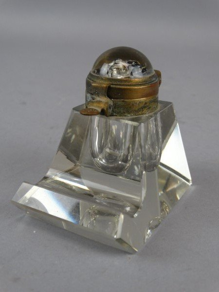 Beautiful Crystal Inkwell and Stand w/ Dog Lid