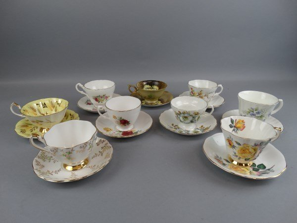 Lot of 9 Bone China Cup & Saucers Sets