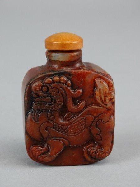 Carved Hardstone Snuff Bottle - Dragon