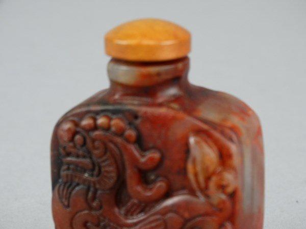 Carved Hardstone Snuff Bottle - Dragon - 4