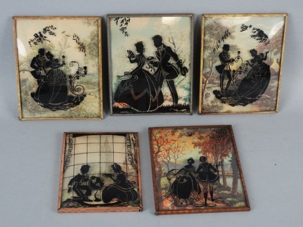 Lot of 5 Curved Glass Silhouettes