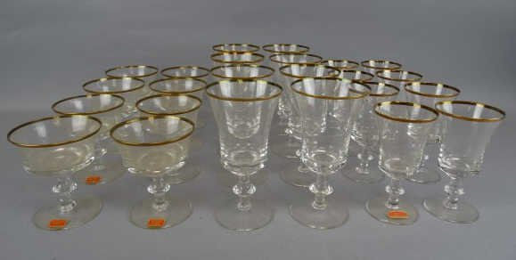 Gorham Gold Trimmed 24 pc. Glass Set