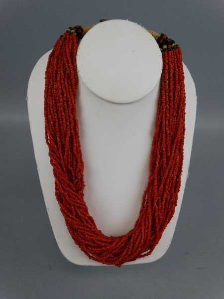 Middle Eastern Red Coral Multi-Strand Necklace