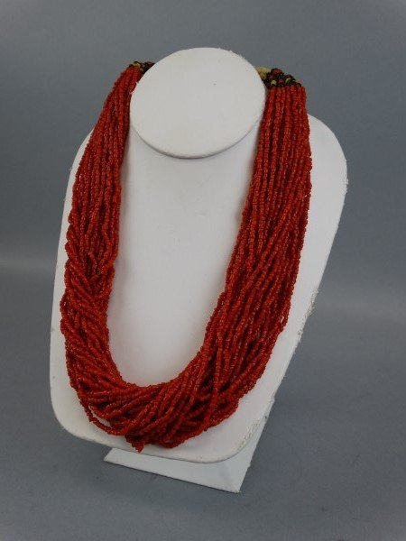 Middle Eastern Red Coral Multi-Strand Necklace - 2