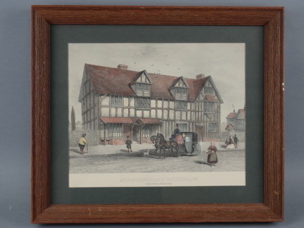 Hand Painted Lithograph - Shakespeare's Birthplace