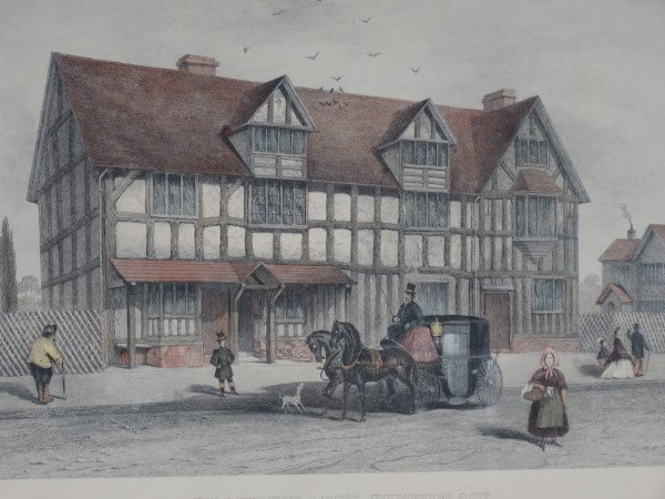 Hand Painted Lithograph - Shakespeare's Birthplace - 2