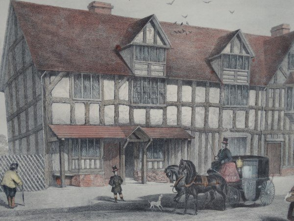 Hand Painted Lithograph - Shakespeare's Birthplace - 3
