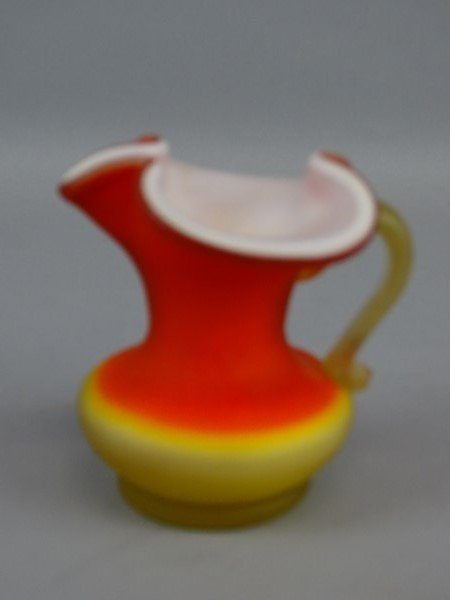 Small Satin Finished Cased Glass Pitcher