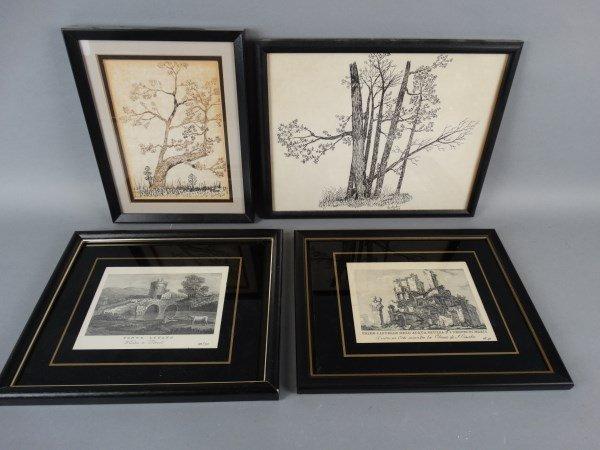 Lot of 2 Pen & Inks & 2 Framed Prints