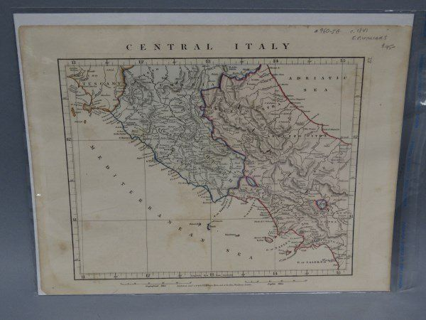 Antique Map : Central Italy - 1841