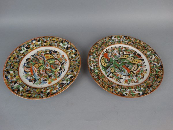 """Pair of Chinese Export """"1000 Butterfly"""" Plates"""