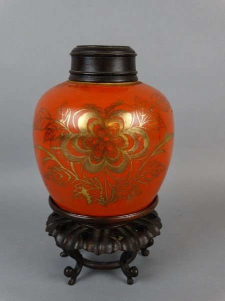 Coral Ground Ginger Jar on Stand