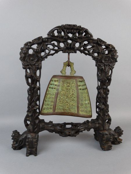 Chinese Bronze Gong on Highly Carved Stand