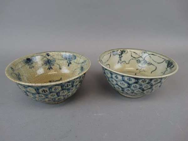 Pair of Antique Chinese B&W Bowls