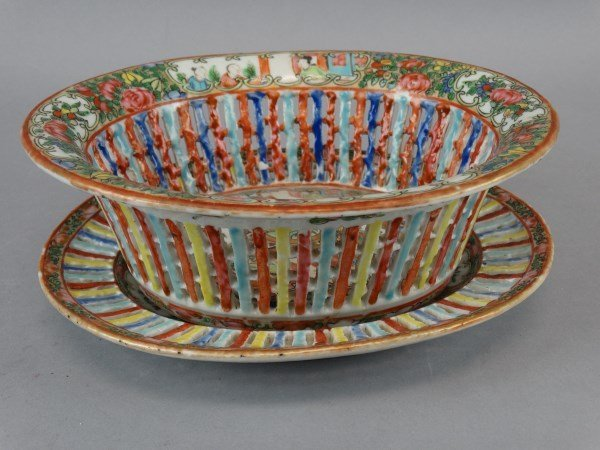 Chinese Rose Medallion Bowl w/ Underplate