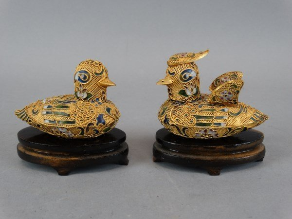Lot of 2 Champleve Ducks on Stands