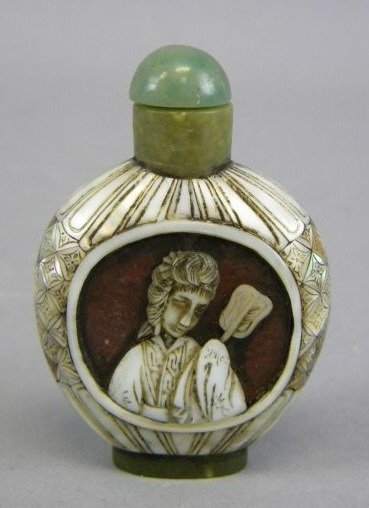 Hardstone & Mother-of-Pearl Inlaid Snuff Bottle