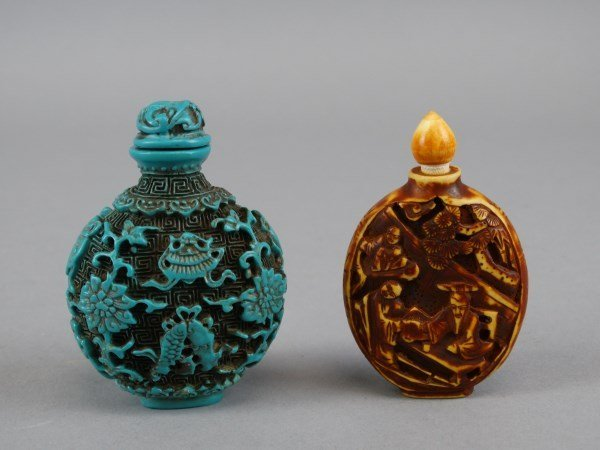 Lot of 2 Carved Snuff Bottles
