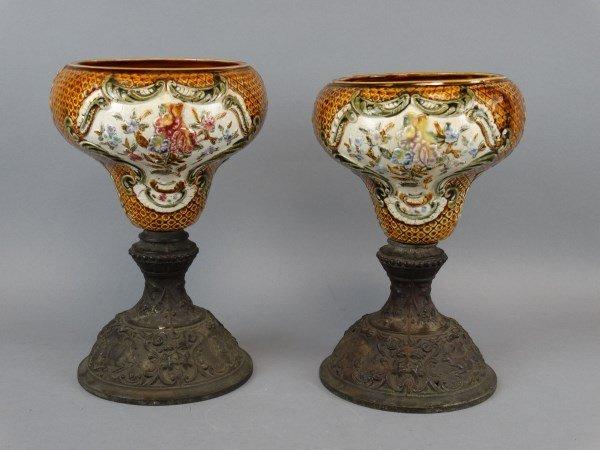 Pair of Mounted Majolica Urns