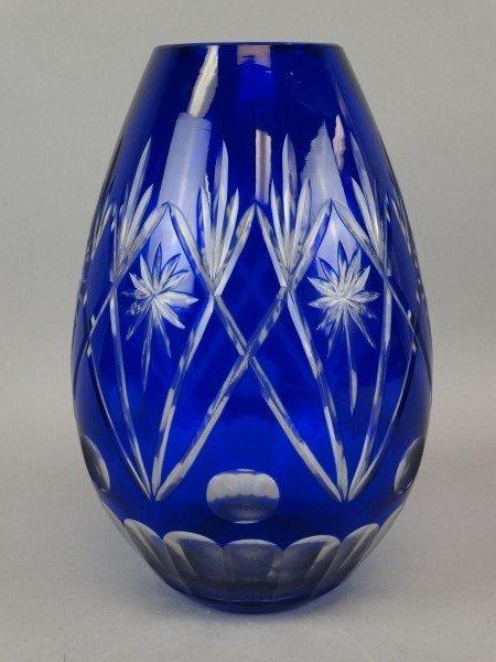 Large Cobalt Cut-to-Clear Vase